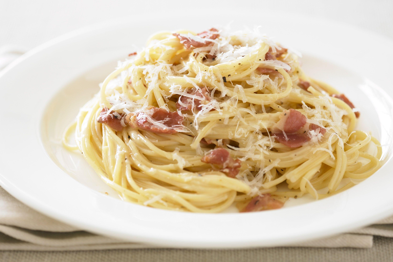 Spaghetti Carbonara with Roasted Tomato Salad